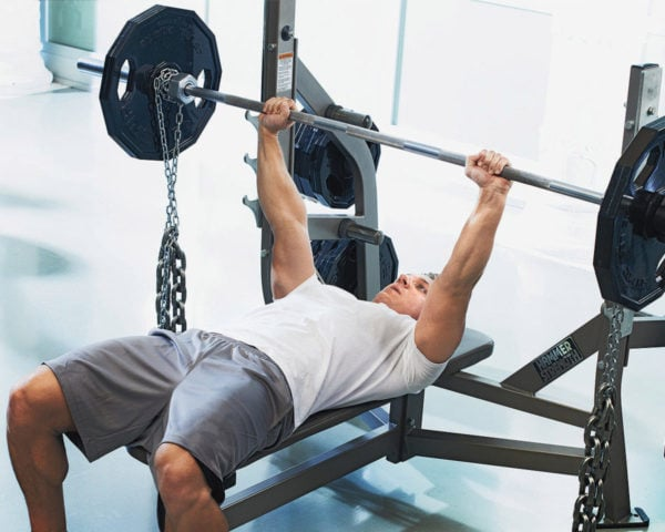 Band or Chain Barbell Bench Press for mass chest workout