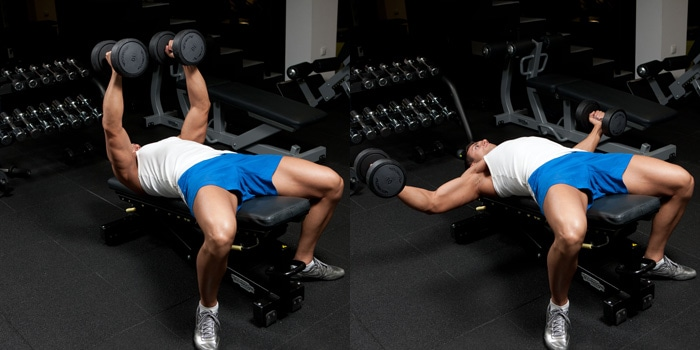 Decline dumbbell fly at home