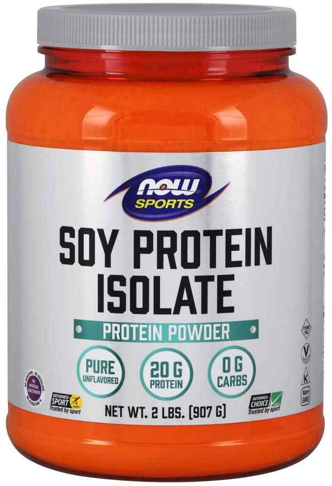 NOW Sports Nutrition, Soy Protein Isolate 20 G, 0 Carbs, Unflavoured Powder, 2-Pound